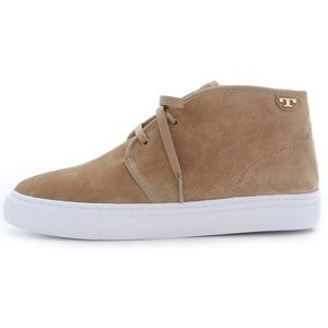 Tory Burch Iggy Suede Leather Sneakers Light Camel